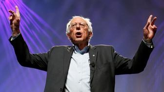 Democratic presidential candidate Sen. Bernie Sanders, I-Vt., gives an opening statement at a Netroots Nation town hall meeting, Saturday, July 18, 2015, in Phoenix. (AP Photo/Ross D. Franklin)