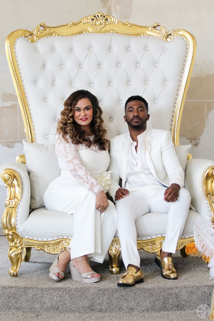 Tina Knowles-Lawson and Trell Thomas at the Black Excellence Brunch during the Essence Festival.