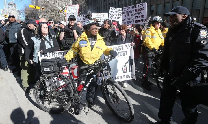Several far-right groups held an anti-Muslim, anti-refugee rally in Toronto on March 23, 2019. Several hundred counter protesters stopped them from marching.