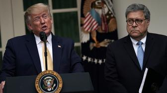 WASHINGTON, DC - JULY 11: U.S. President Donald Trump makes a statement on the census with Attorney General William Barr in the Rose Garden of the White House on July 11, 2019 in Washington, DC. President Trump, who had previously pushed to add a citizenship question to the 2020 census, announced that he would direct the Commerce Department to collect that data in other ways.  (Photo by Alex Wong/Getty Images)