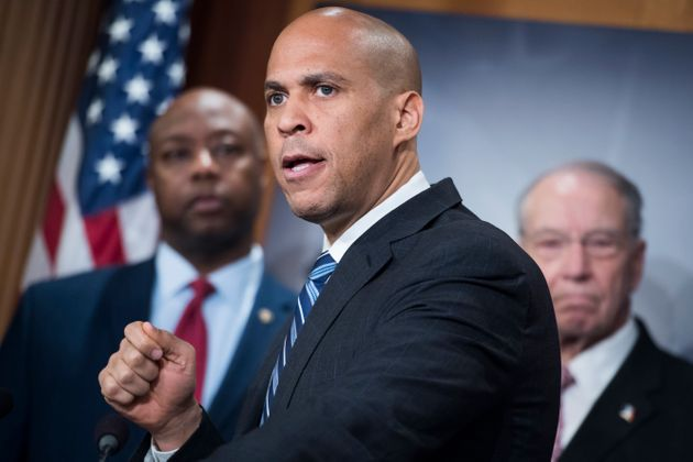 Sen. Cory Booker speaks at a press conference in the Capitol in December 2018 on the passage of the First...