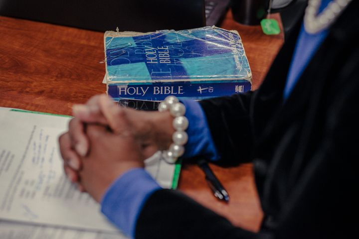 A Bible rests on a conference room table at Miracle Hill Ministries in Greenville, South Carolina, in November 2018.