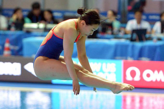 김수지가 한국 다이빙 사상 최초로 세계 수영 대회 메달을