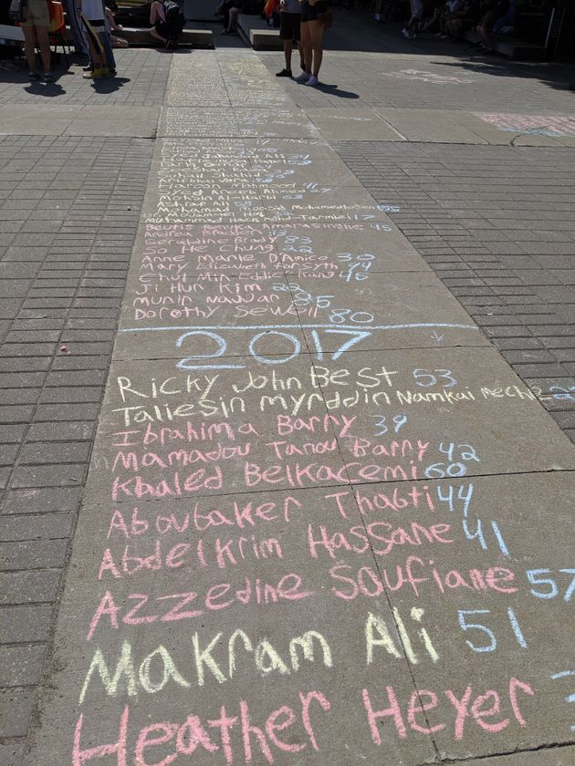 A list of people killed by fascists written in chalk on the forecourt of Hamilton City Hall on Saturday,...