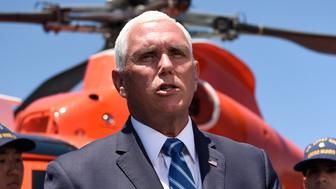 Vice President Mike Pence speaks to the media during a visit to the U.S. Coast Guard Cutter Munro, Thursday, July 11, 2019, in Coronado, Calif. (AP Photo/Denis Poroy)Copyright 2019 The Associated Press. All rights reserved.
