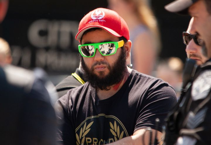 A member of the far-right Proud Boys group in Hamilton on June 22, 2019.