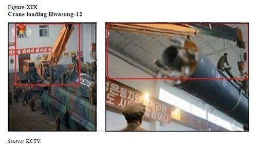 북한이 2017년 8월과 9월 발사한 화성-12 중장거리탄도미사일을 옮기는 데 사용된 기중기가 일본 제품으로 확인됐다. 사진은 유엔 대북제재위원회 전문가 패널의 2018년 보고서에...