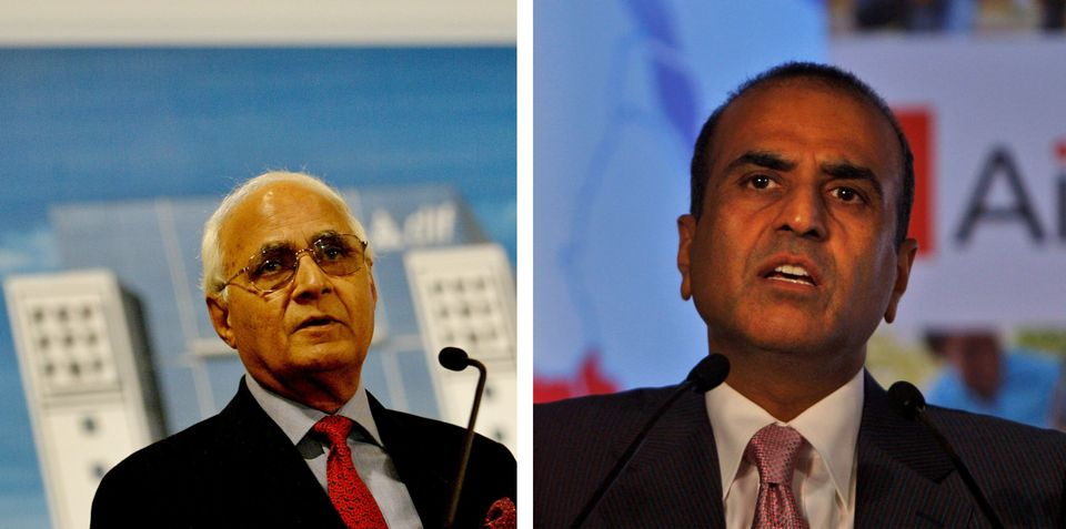 DLF Ltd Chairman K P Singh (L) and Bharti Enterprises Ltd Chief Sunil Bharti Mittal (R). The two Indian...