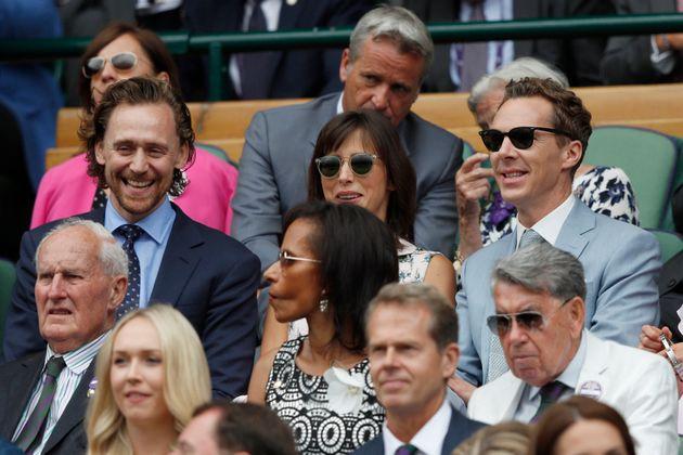Tom Hiddleston, left, British actor Benedict Cumberbatch, right, and his wife, Sophie