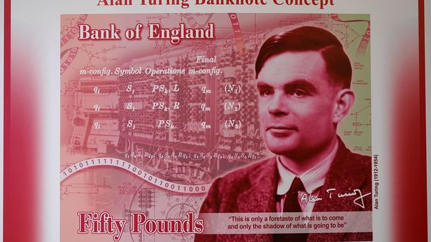 MANCHESTER, ENGLAND - JULY 15:  An artists illustration of the Alan Turing 50 GBP bank note unveiled by The Governor of the Bank of England, Mark Carney at the Manchester Science and Industry Museum on July 15, 2019 in Manchester, England. The general public were asked to 'Think Science' and nominate characters from the field of science for the next £50. Alan Turing was selected from over 200,000 nominations for nearly 1000 eligible scientists. (Photo by Christopher Furlong/Getty Images)