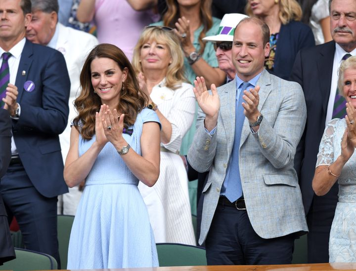 The Duke and Duchess of Cambridge during the match.