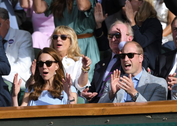 The two watching from the royal box on centre court during the men's final of the Wimbledon Tennis Championships on July 14.