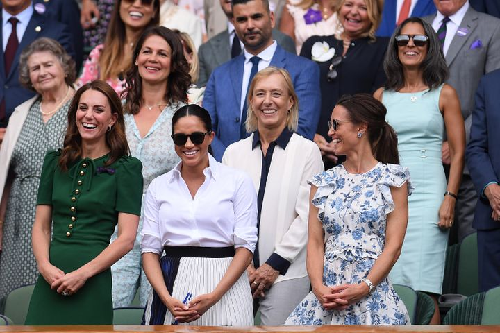 The Duchess of Cambridge, Duchess of Sussex and Pippa Middleton at the All England Lawn Tennis and Croquet Club, Wimbledon