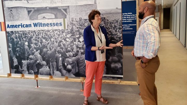Kim Kenneson of Johnson City, Tennessee, and Nicholas Turner of Zachary, Louisiana, at the U.S. Holocaust Memorial Museum in