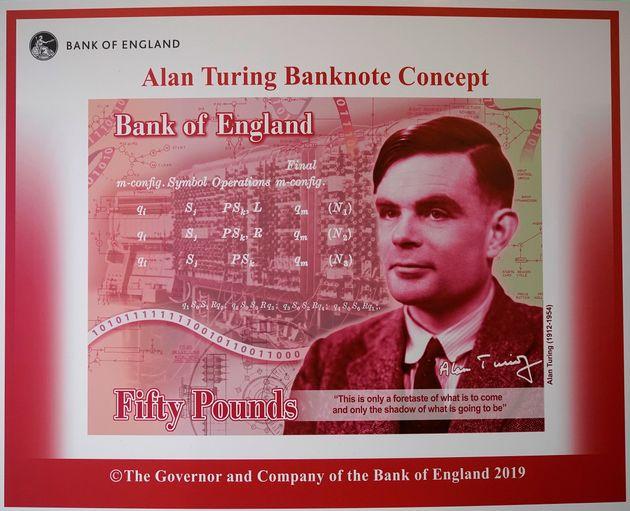 Illustration artistique d'Alan Turing sur les billets de 50 livres dévoilée par le gouverneur...