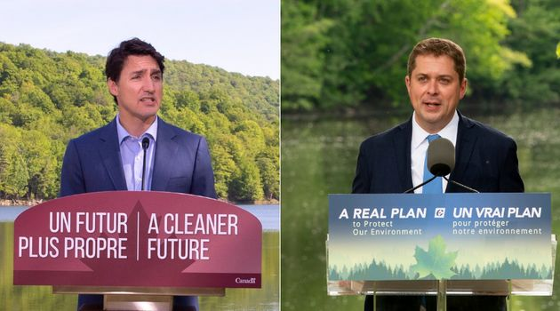 Prime Minister Justin Trudeau and Conservative Leader Andrew Scheer are shown in a composite
