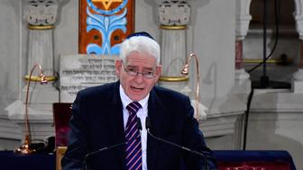 The president of the Central Council of Jews in Germany Josef Schuster speaks during a ceremony at the Synagogue Rykestrasse in Berlin on November 9, 2018 to commemorate the 80th anniversary of the Kristallnacht Nazi pogrom. - Germany remembers victims of the Nazi pogrom that heralded the start of the Third Reich's drive to wipe out Jews, at a time when anti-Semitism is resurgent in the West. (Photo by Tobias SCHWARZ / AFP)        (Photo credit should read TOBIAS SCHWARZ/AFP/Getty Images)