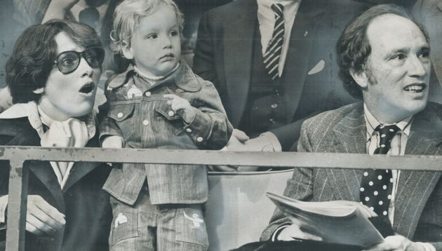 Margaret Trudeau (left), a 2-year-old Justin Trudeau, and then-Prime Minister Pierre Elliot Trudeau in