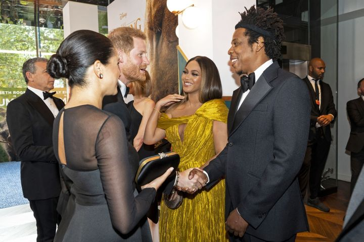 "Prince Harry joins the conversation at the European premiere of ""The Lion King"" in London on Sunday."