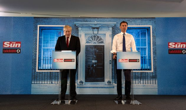 Conservative party leadership candidates Boris Johnson and Jeremy Hunt during a head-to-head debate hosted...