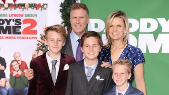 """WESTWOOD, CA - NOVEMBER 05:  Actor Will Ferrell, wife Viveca Paulin and children Magnus Paulin Ferrell, Mattias Paulin Ferrell and Axel Paulin Ferrell attend the premiere of """"Daddy's Home 2"""" at Regency Village Theatre on November 5, 2017 in Westwood, California.  (Photo by Jason LaVeris/FilmMagic)"""