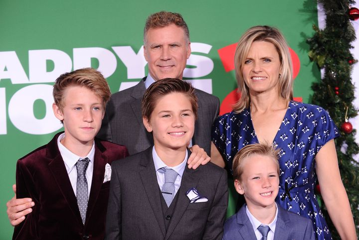 """Will Ferrell attends the premiere of """"Daddy's Home 2"""" in Los Angeles on Nov. 5, 2017, with his wife, Viveca Paulin, and sons (left to right) Magnus, Mattias and Axel."""
