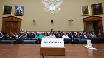 The witness seat for White House counselor Kellyanne Conway is ready before the start of the House Oversight hearing on Capitol Hill in Washington, Monday, July 15, 2019, on Conway's violation of the Hatch Act. (AP Photo/Susan Walsh)