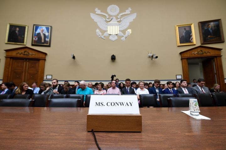 The witness seat for White House counselor Kellyanne Conway is ready before the start of the House Oversight hearing on