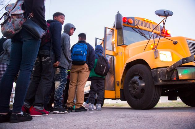 Students board a bus heading to Atherton High School on March, 2, 2017, in Louisville,