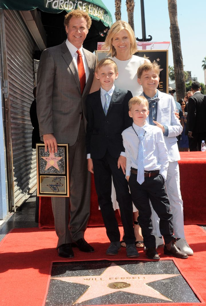 Ferrell and his family attend his star ceremony at the Hollywood Walk of Fame on March 24, 2015.