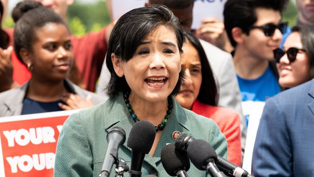 """WASHINGTON, D C , UNITED STATES - 2019/06/25: U.S. Representative Judy Chu (D-CA) speaking at a rally at the U.S. Capitol for H.R.4, the """"Voting Rights Advancement Act of 2019"""". (Photo by Michael Brochstein/SOPA Images/LightRocket via Getty Images)"""