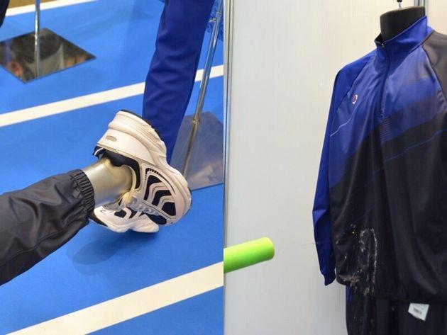 すそがすぼまっている体育着のパンツ(左)。小雨に対応できる体育着(右)。