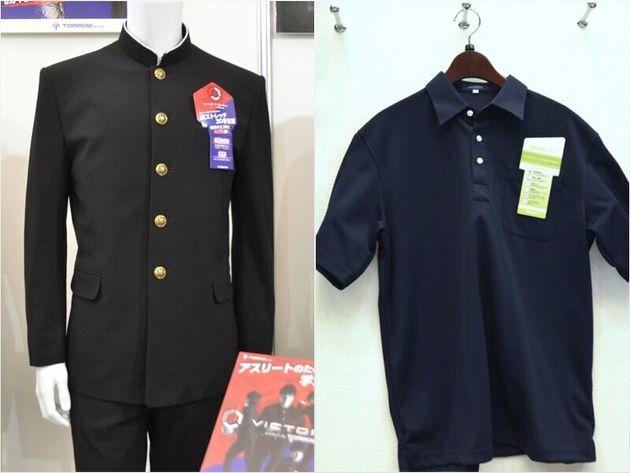 ニット素材の詰襟学生服(左)とポロシャツ。いずれも着ごこちがよく、洗ってもアイロンが不要だという。