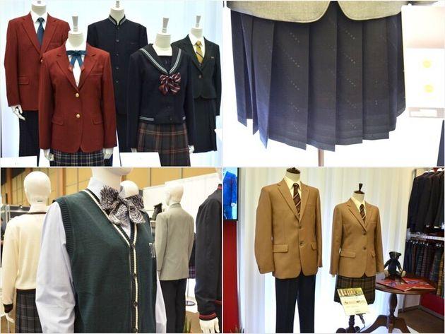 展示会場には様々なデザインの制服が。右上のスカートは、すそがグラデーション模様になっていた。