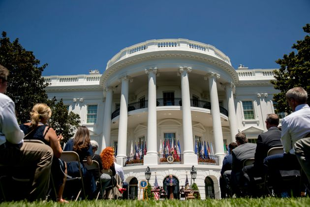 도널드 트럼프 미국 대통령이 백악관에서 열린 '제 3회 메이드 인 아메리카 제품 전시회'에서 발언하고 있다. 워싱턴DC, 미국. 2019년
