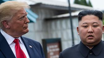 US President Donald Trump and North Korea's leader Kim Jong-un talk before a meeting in the Demilitarized Zone (DMZ) on June 30, 2019, in Panmunjom, Korea. (Photo by Brendan Smialowski / AFP)        (Photo credit should read BRENDAN SMIALOWSKI/AFP/Getty Images)