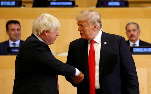 Boris Johnson et Donald Trump lors d'un sommet à l'ONU en septembre 2017, New