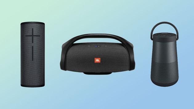 De gauche à droite, l'enceinte Bluetooth Ultimate Ears Megaboom 3, la JBL Boom Box et la Bose...