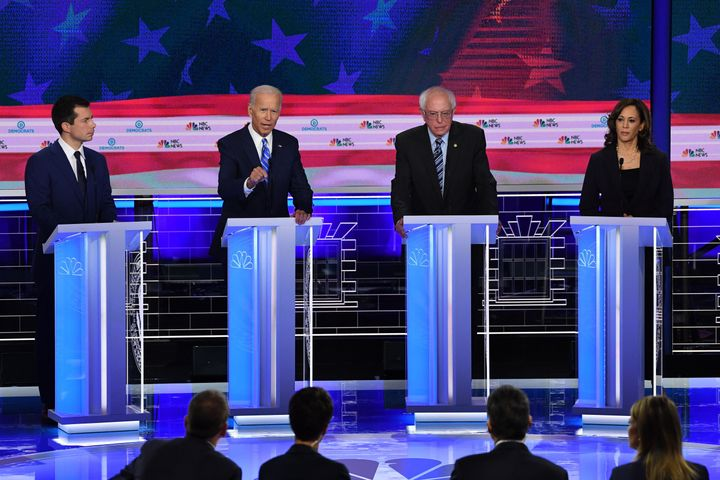 From left to right, Pete Buttigieg, Joe Biden, Bernie Sanders and Kamala Harris, are among the five candidates, along with El