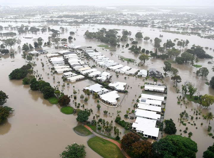 A view of the flooded area of Townsville, Australia, on Feb. 4, 2019, where crocodiles and snakes flowed from rivers int