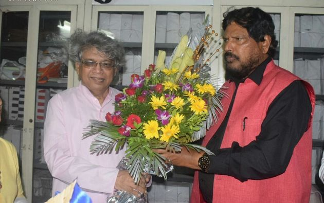 Dalit Panthers co-founder Raja Dhale with his protege and union minister Ramdas