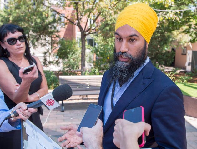 NDP Leader Jagmeet Singh speaks to the media in Montreal on July 19,