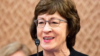 """WASHINGTON, D C , UNITED STATES - 2019/06/27: U.S. Senator Susan Collins (R-ME) speaking at a press conference sponsored by the Problem Solvers Caucus and the Common Sense Coalition to announce """"principles for legislation to lower prescription drug prices"""" at the US Capitol in Washington, DC. (Photo by Michael Brochstein/SOPA Images/LightRocket via Getty Images)"""