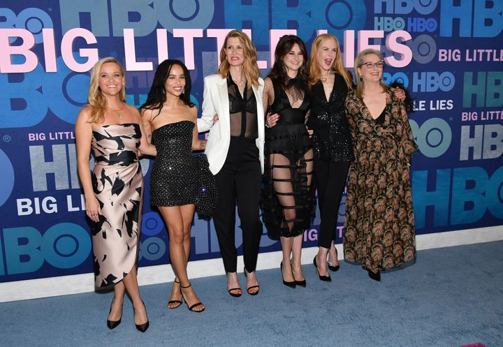 "Reese Witherspoon, Zoë Kravitz, Laura Dern, Shailene Woodley, Nicole Kidman and Meryl Streep attend the ""Big Little Lies"