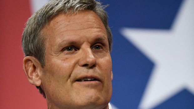 May 15, 2018; Nashville, TN, USA; Tennessee gubernatorial candidate Bill Lee answers questions during Leadership Tennessee's The Gubernatorial Forum at Lipscomb University. Mandatory Credit: George Walker IV /The Tennessean via USA TODAY NETWORK/Sipa USA **NO TABLOIDS**