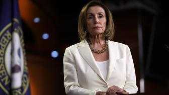 WASHINGTON, DC - JULY 11: Speaker of the House Nancy Pelosi (D-CA) answers questions during a press conference at the U.S. Capitol on July 11, 2019 in Washington, DC. Pelosi answered a range of questions including comments on a recent flap with Rep. Alexandria Ocasio-Cortez and more progressive members of the House Democratic caucus. (Photo by Win McNamee/Getty Images)