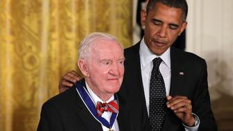 WASHINGTON, DC - MAY 29:  Former U.S. Supreme Court Justice John Paul Stevens is presented with a Presidential Medal of Freedom by U.S. President Barack Obama during an East Room event May 29, 2012 at the White House in Washington, DC.  The Medal of Freedom, the nation's highest civilian honor, is presented to individuals who have made especially meritorious contributions to the security or national interests of the United States, to world peace, or to cultural or other significant public or private endeavors.  (Photo by Alex Wong/Getty Images)