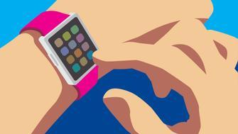 Hand activating smartwatch.