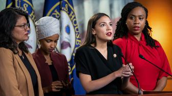 "From left, Rep. Rashida Tlaib, D-Mich., Rep. Ilhan Omar, D-Minn., Rep. Alexandria Ocasio-Cortez, D-N.Y., and Rep. Ayanna Pressley, D-Mass., respond to remarks by President Donald Trump after his call for the four Democratic congresswomen to go back to their ""broken"" countries, during a news conference at the Capitol in Washington, Monday, July 15, 2019. All are American citizens and three of the four were born in the U.S. (AP Photo/J. Scott Applewhite)"