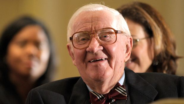 FILE - In this Oct. 15, 2012, file photo, retired Supreme Court Justice John Paul Stevens waits to speak to area lawyers about gun laws, gun violence, and the Second Amendment at the Brady Center's Legal Action Project luncheon in Washington. Stevens is among those urging Congress to rein in spending on elections. The retired justice is expected to testify April 30 during a Senate hearing on campaign finance rules, which have been eased in recent court decisions that opened door for super PACs that can accept unlimited donations. (AP Photo/Susan Walsh, File)